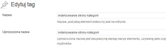 Indeksowanie strony kategorii - edycja tagu