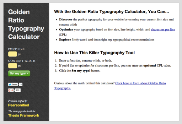 Kalkulator typograficzny Thesis 2.0